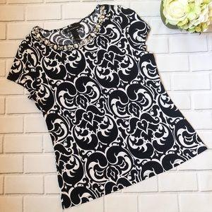 NWOT INC Rhinestone Embellished Printed T-Shirt